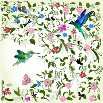 Fototapeta Floral background with bird