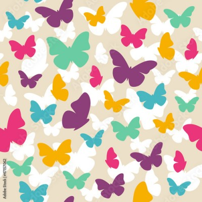Fototapeta Seamless beautiful pattern with color butterflies. Vector