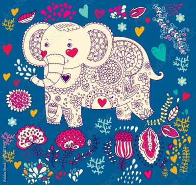 Fototapeta Vector holiday illustration with elephant