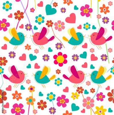 Fototapeta Spring bird and flower pattern