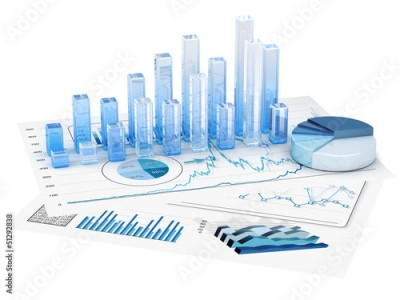 Fototapeta Graphs of financial analysis - Isolated