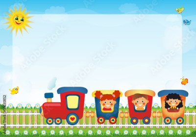 Fototapeta Children riding train with place for text