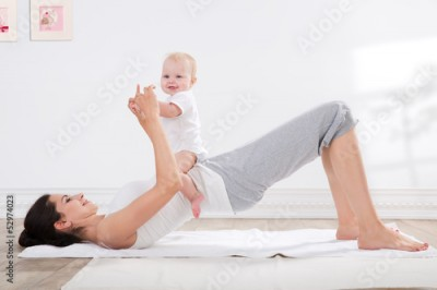 Fototapeta mother and baby gymnastics
