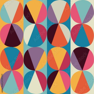 Fototapeta Vector geometric pattern of circles and triangles. Colored circl