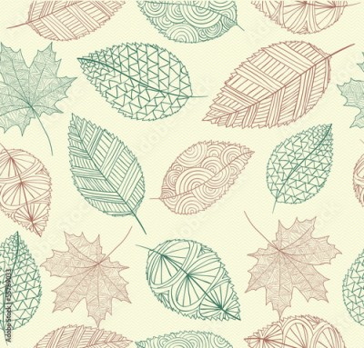 Obraz Vintage drawing fall leaves seamless pattern background. EPS10 f