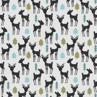 Fototapeta Seamless pattern with deer and trees