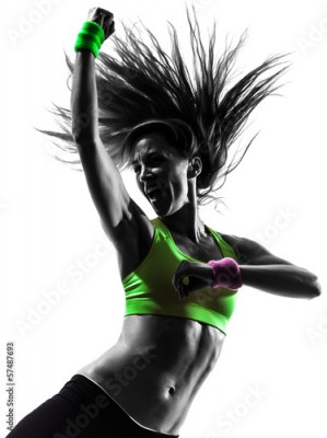 Obraz woman exercising fitness zumba dancing silhouette