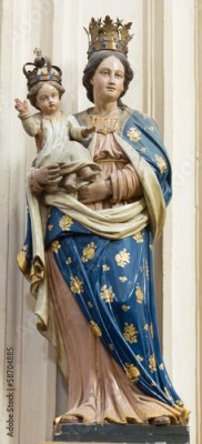 Plakat Leuven - Carved statue of Madonna form St. Michaels church
