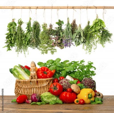 Fototapeta fresh vegetables and herbs.shopping basket. kitchen interior