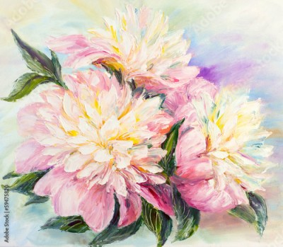 Obraz na Szkle Peonies, oil painting on canvas