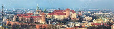 Fototapeta Cracow skyline with aerial view of historic royal Wawel Castle a