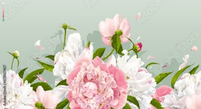 Obraz na Szkle Pink and white peony background