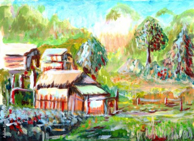 Obraz oil painting Village