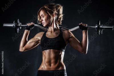Fototapeta Fitness with barbell