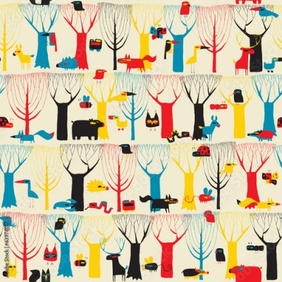 Fototapeta Wood Animals tapestry seamless pattern in modernistic colors