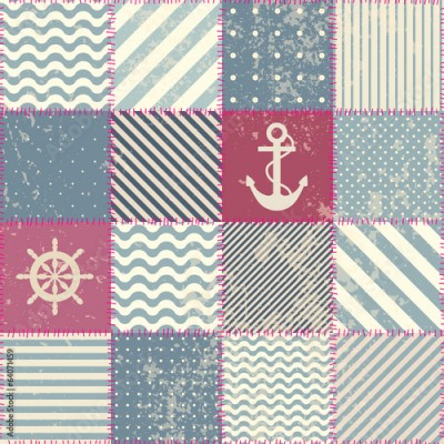 Fototapeta Retro patchwork in nautical style.