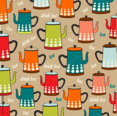 Obraz Seamless pattern with vintage Kettles