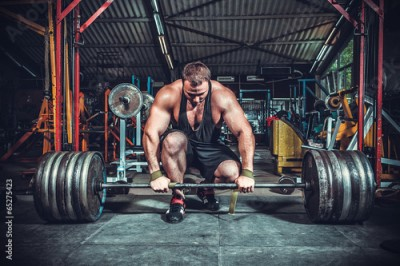 Fototapeta Powerlifter with strong arms lifting weights