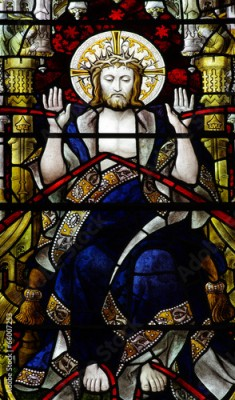 Naklejka Jesus Christ with blood from his stigmata in stained glass