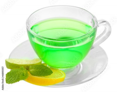 Obraz na płótnie Transparent cup of green tea isolated on white