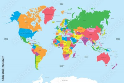 Fototapeta Political map of the world vector