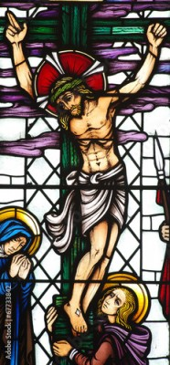 Naklejka Jesus Christ crucified in stained glass