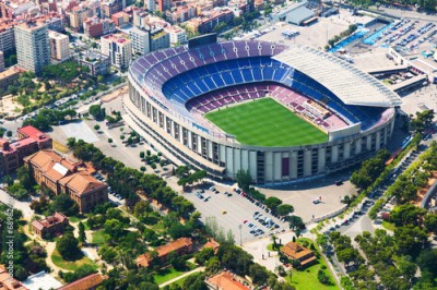 Obraz na Szkle Largest stadium of Barcelona from helicopter. Catalonia