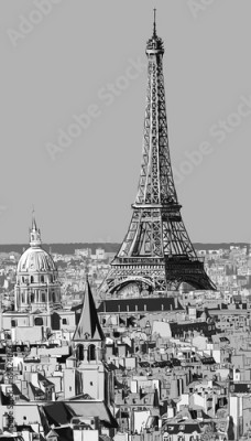 Fototapeta Roofs of Paris with Eiffel tower