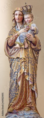 Plakat Bruges - polychromed statue of Madonna in st. Giles church