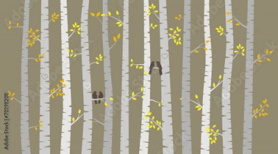 Naklejka Vector Birch or Aspen Trees with Autumn Leaves and Love Birds