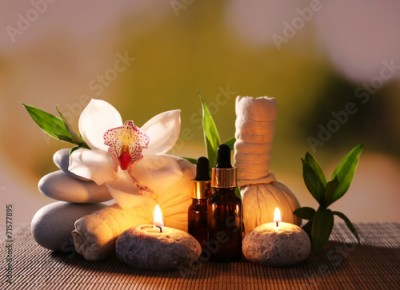 Panel Szklany Spa composition with herbal massage bags, candles and bamboo