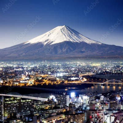 Fototapeta Mount Fuji. Fujiyama. Aerial view with cityspace surreal shot. J
