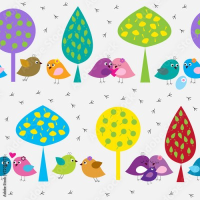 Fototapeta Seamless pattern with cute birds in the forest