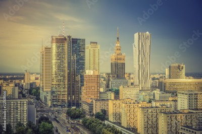 Obraz Warsaw financial district in late afternoon, Poland