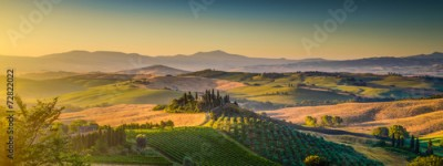 Panel Szklany Tuscany landscape panorama at sunrise, Val d'Orcia, Italy