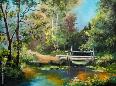Obraz oil painting on canvas - bridge in the forest
