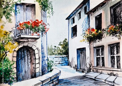 Panel Szklany Oil Painting, watercolor  - flowers along the street