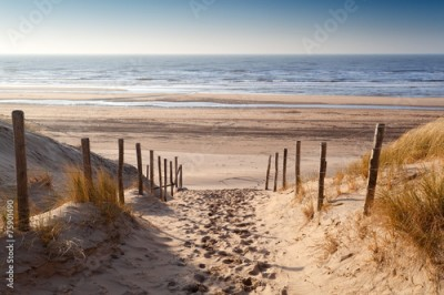 Panel Szklany sand path to North sea at sunset