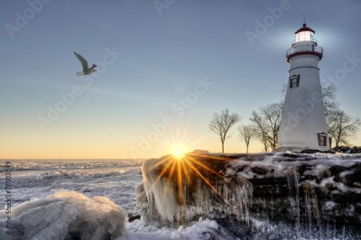 Obraz na płótnie Marblehead Lighthouse Winter Sunrise