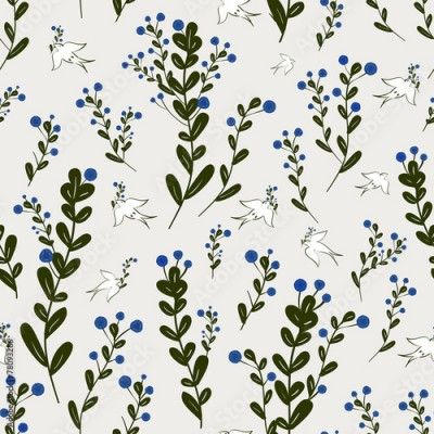Naklejka adorable floral seamless pattern with birds element