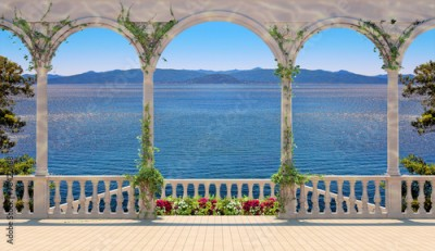 Fototapeta Terrace with balustrade overlooking the sea and mountains