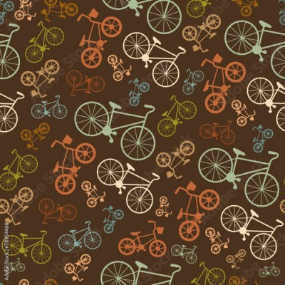 Obraz Vector seamless colorful retro vintage bicycle hipster