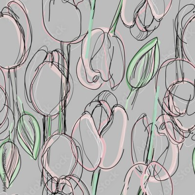 Fototapeta Tulip seamless pattern / Sketch of pink spring flowers