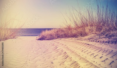 Fototapeta Vintage filtered beach, nature background or banner.