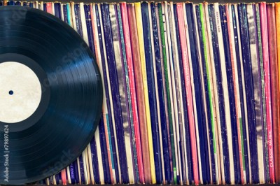 Plakat Vinyl record with copy space, vintage process