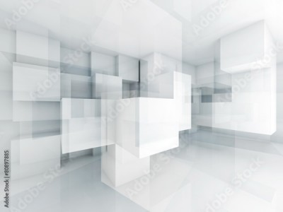 Naklejka Abstract 3d architecture background with chaotic cubes