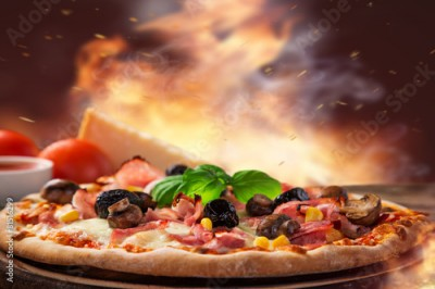 Fototapeta Delicious italian pizza served on wooden table