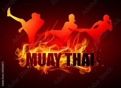 Obraz na płótnie kicking thai boxing postures with muay thai fire typo