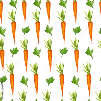 Fototapeta Seamless pattern with carrots and greens. Watercolor style