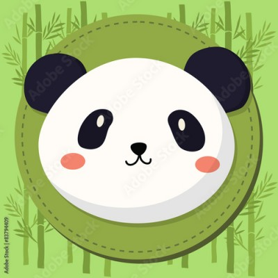 Obraz Cute Panda Head Cartoon in Green Bamboo Background